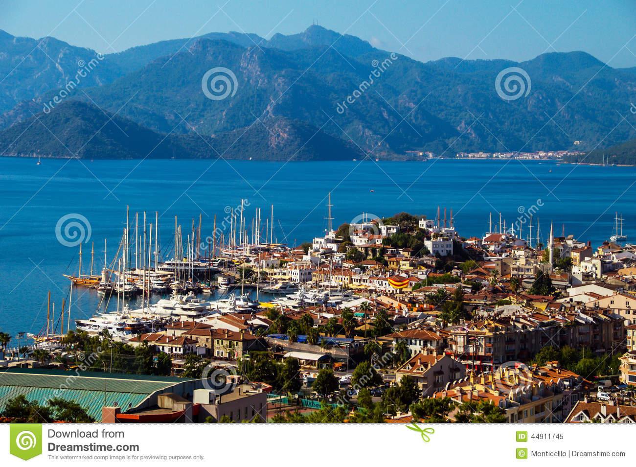 View Of Marmaris Harbor On Turkish Riviera Stock Photo.