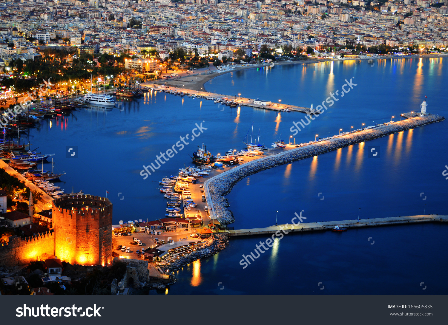 View Of Alanya Harbor From Alanya Peninsula. Turkish Riviera By.