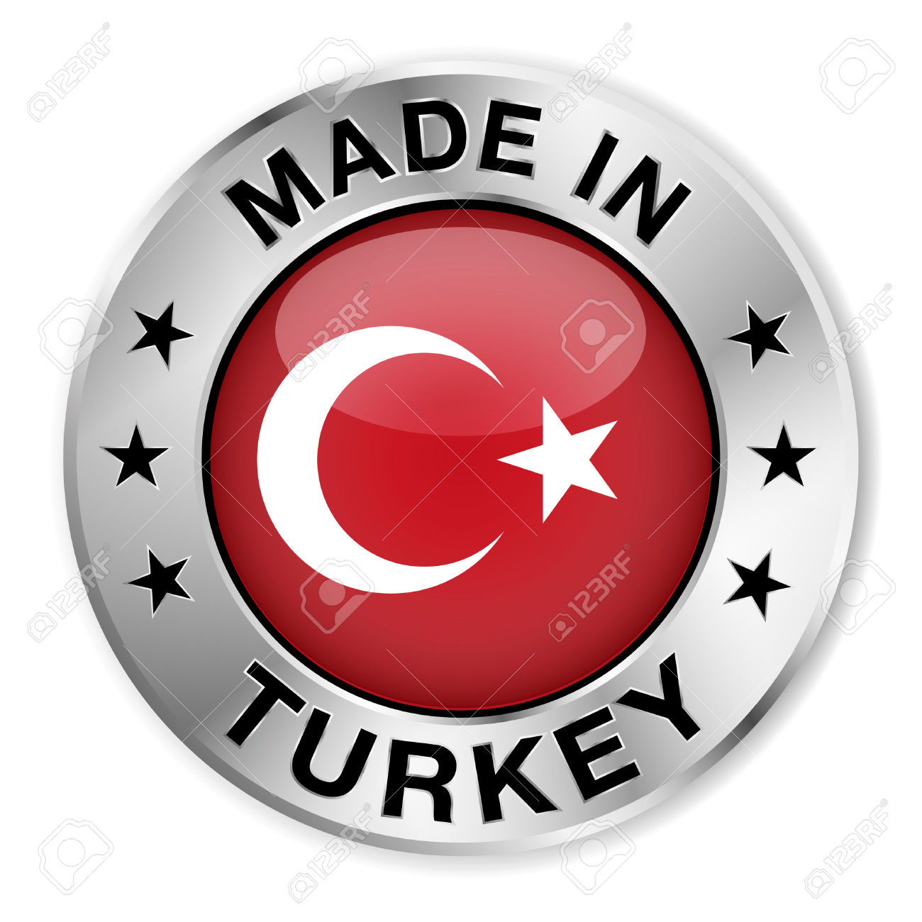 Made In Turkey Silver Badge And Icon With Central Glossy Turkish.
