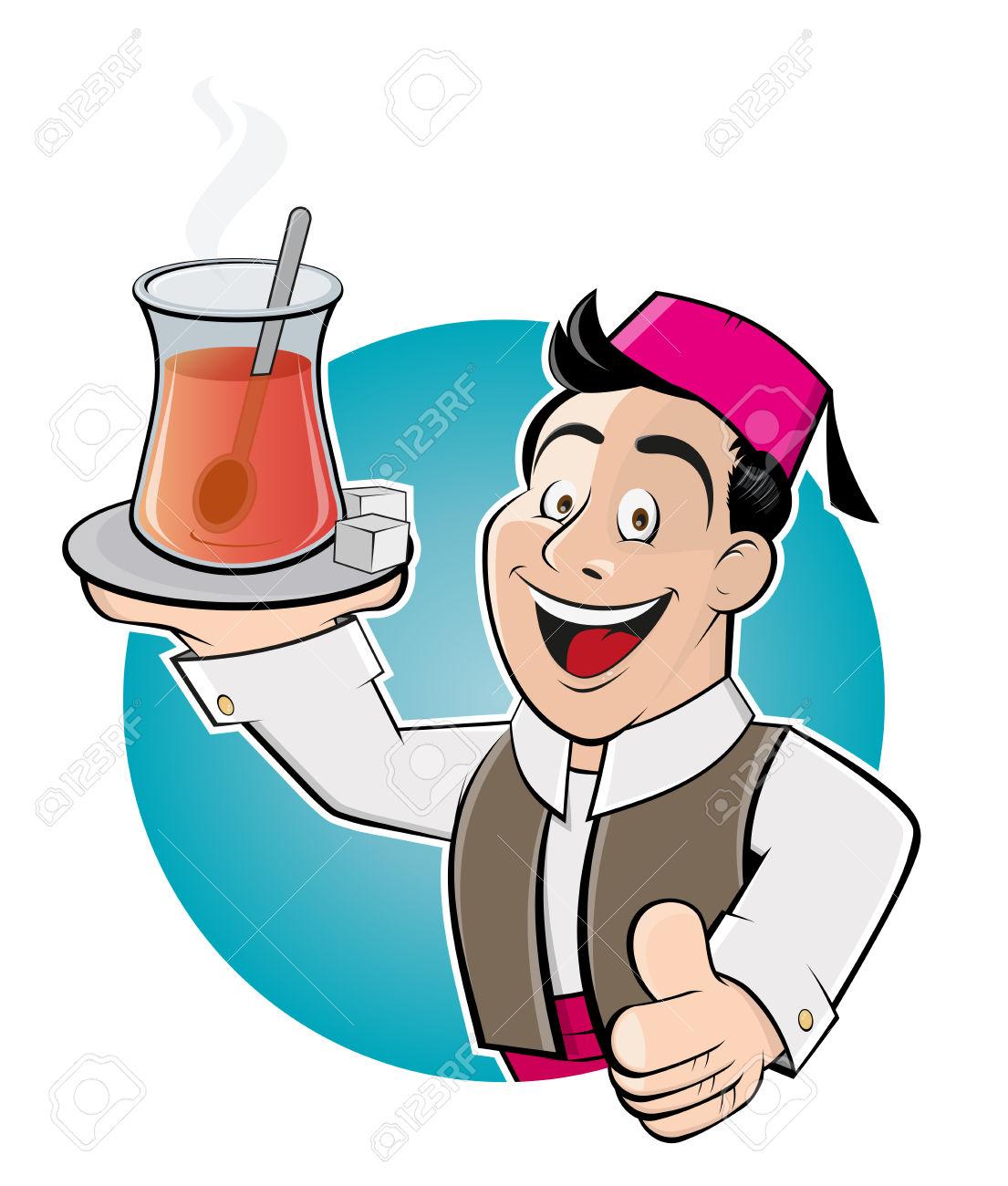 Happy Cartoon Man Is Serving Turkish Tea Royalty Free Cliparts.