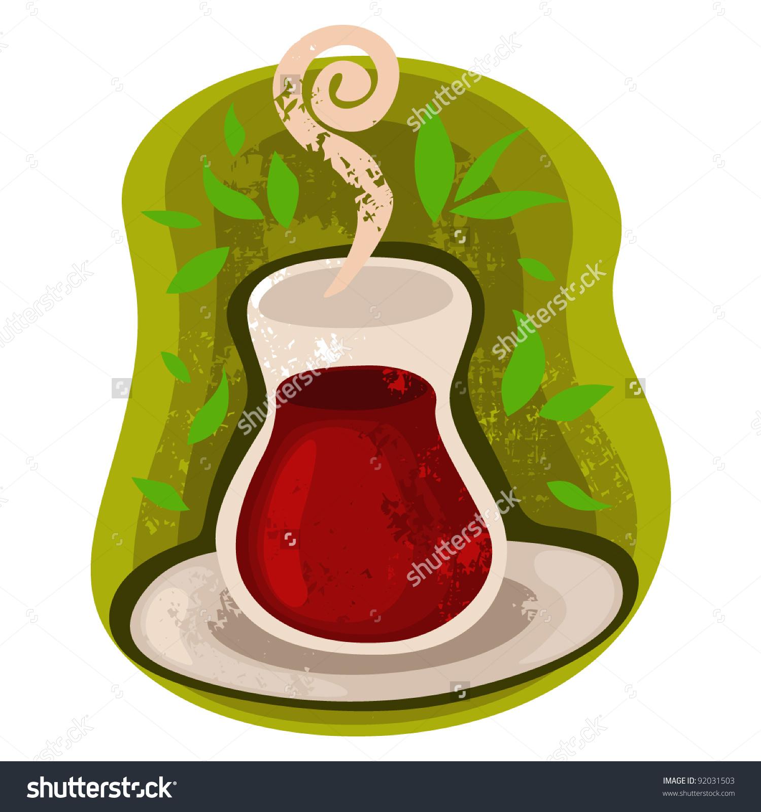 Glass Of Turkish Tea Stock Vector Illustration 92031503 : Shutterstock.