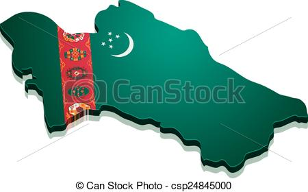 Vector Clipart of Map Turkmenistan.