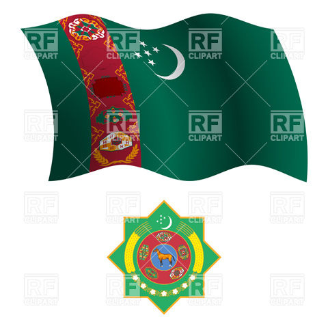 Turkmenistan flag and emblem Vector Image #20810.
