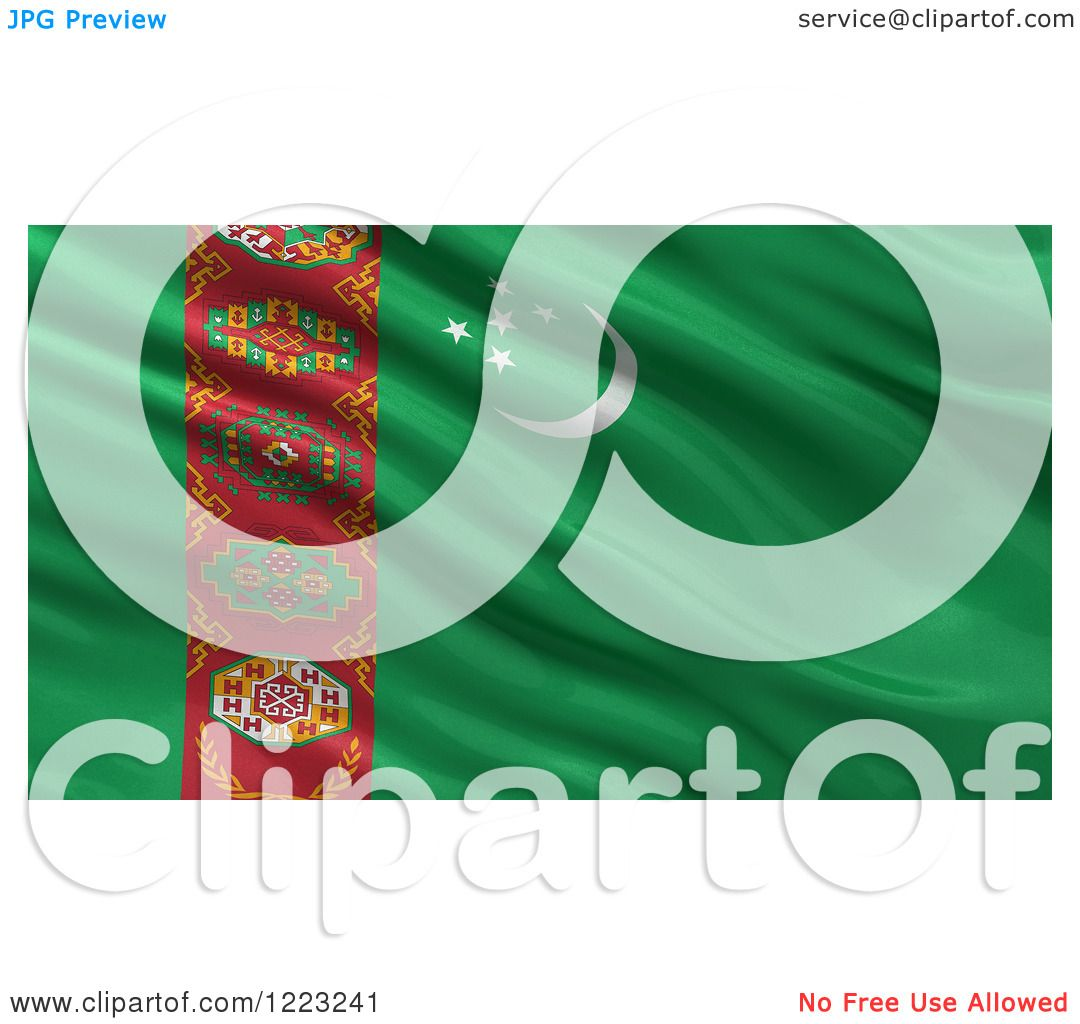 Clipart of a 3d Waving Flag of Turkmenistan with Rippled Fabric.