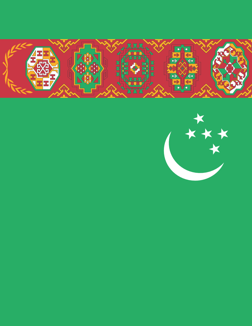 Turkmenistan Flag Full Page Clip Art Download.