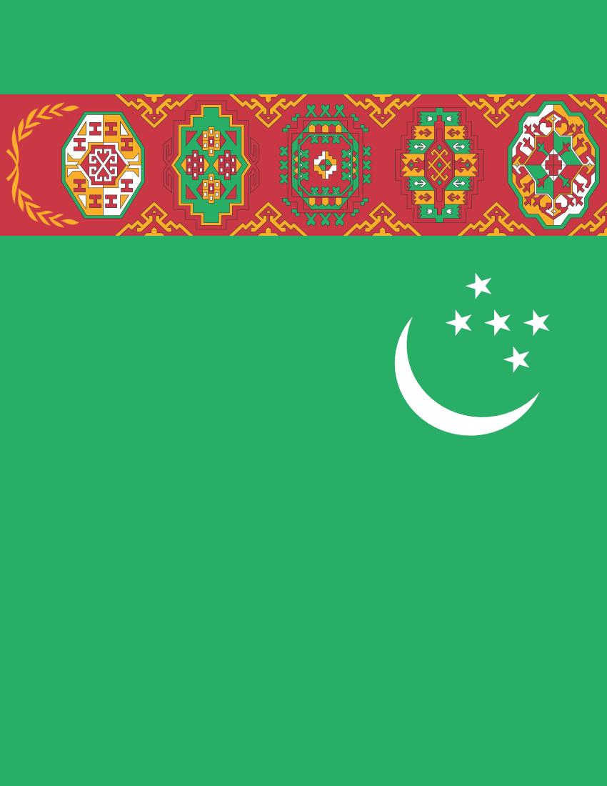 Turkmenistan Flag Full Page Clip Art Download.