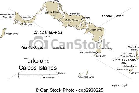 Clipart Vector of Turks and Caicos, Island, Capital.