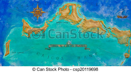Stock Illustration of Map of Caribbean island Turks and Caicos.