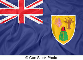 Waving flag of turks and caicos islands Clipart and Stock.