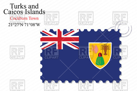 Postage stamp with flag of Turks and caicos islands Vector Image.