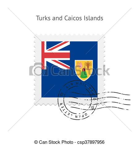 Clipart Vector of Turks and Caicos Islands Flag Postage Stamp.
