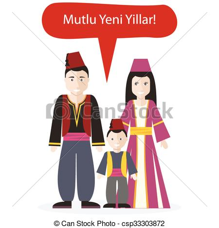 Vectors Illustration of Turks People Congratulations Happy New.