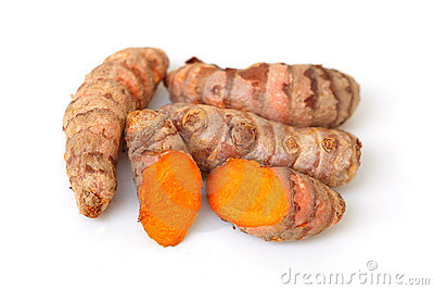 Turmeric And Turmeric Powder Stock Photo.