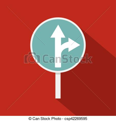 EPS Vectors of Blue straight or right turn ahead road sign icon.