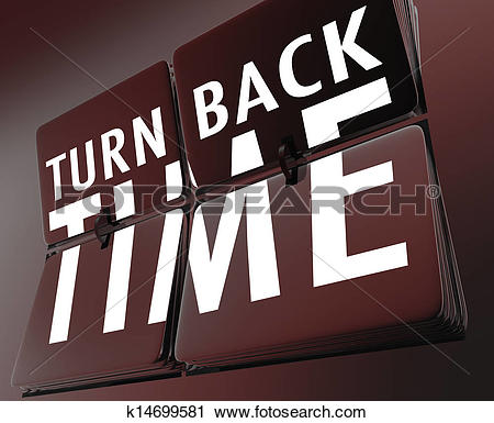 Clipart of Turn Back Time Retro Clock Flipping Tiles Reverse to.