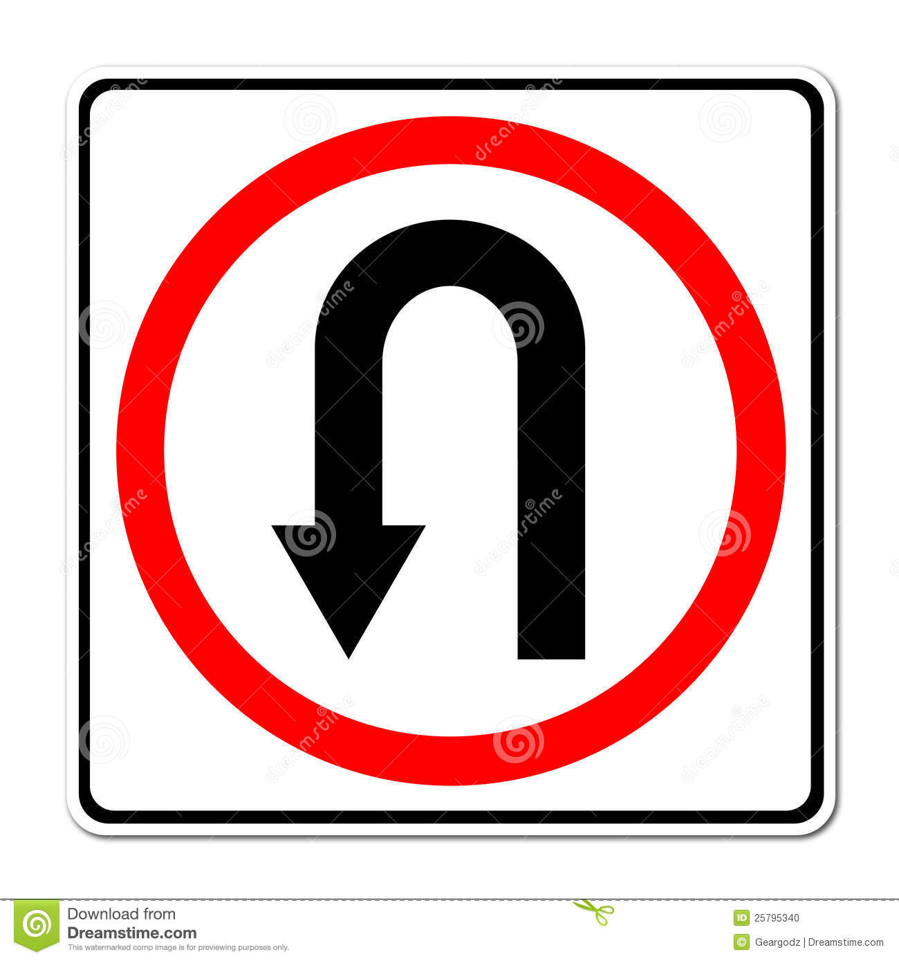 Turn Back Road Sign Stock Vector.