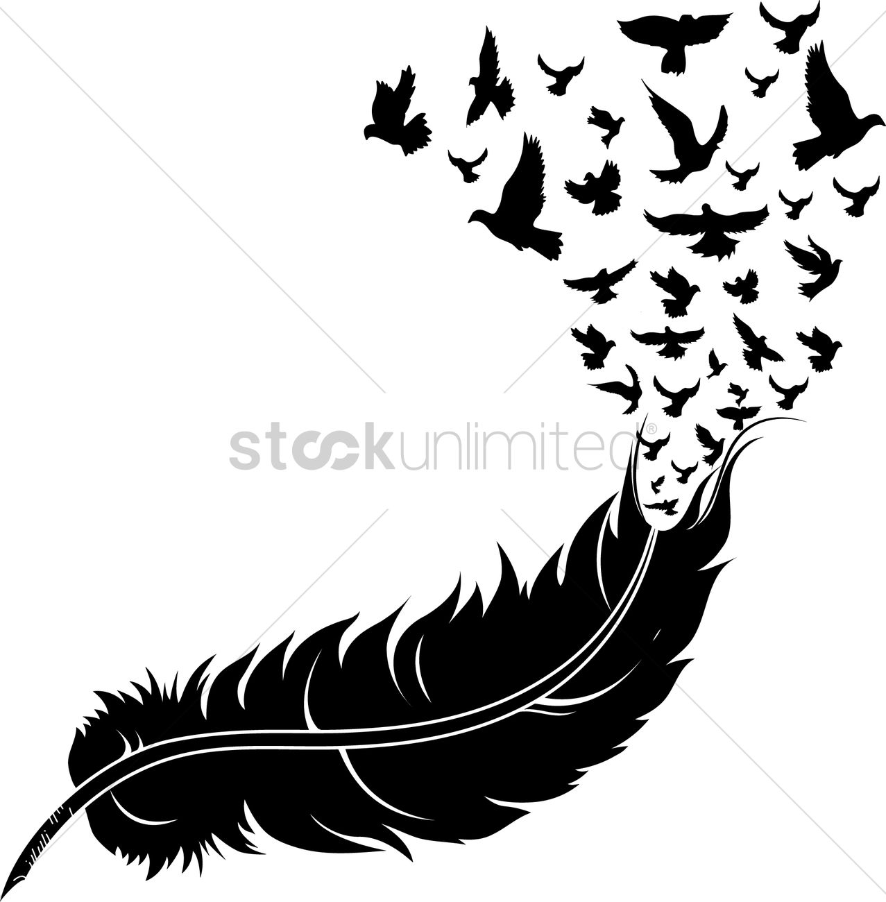 Feather Turning Into Birds Silhouette.