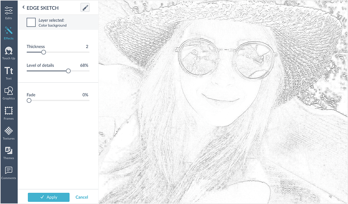 Create a Photo Sketch with Edge Sketch.