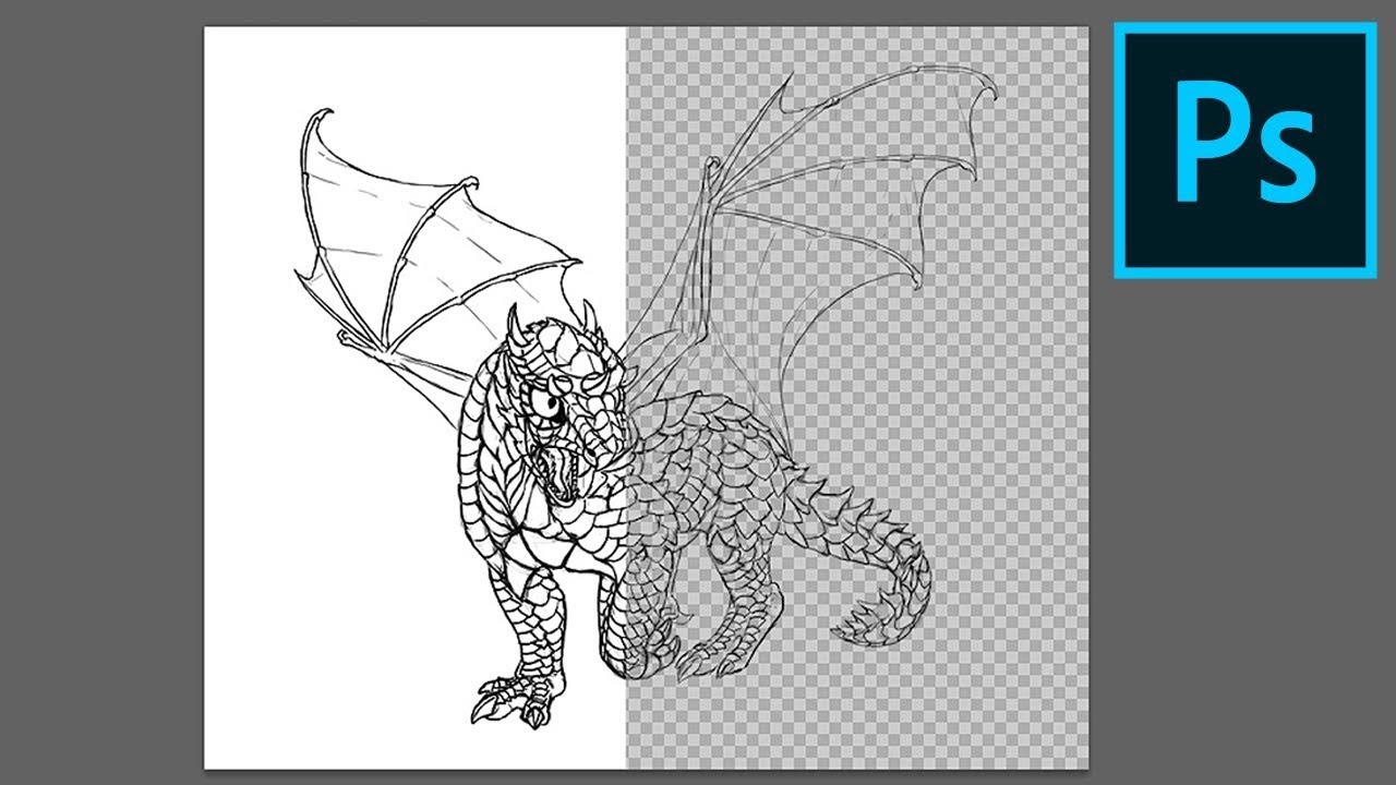 Remove the White Background From Line Art in Adobe Photoshop.