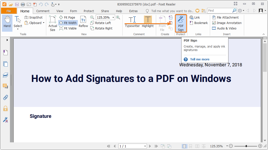How to add a signature to a PDF.