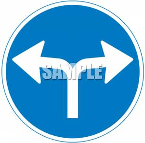 Turn Left Or Right Traffic Sign.