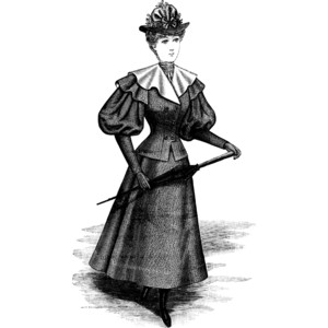 Late 19th Century Winter Dress Clipart.