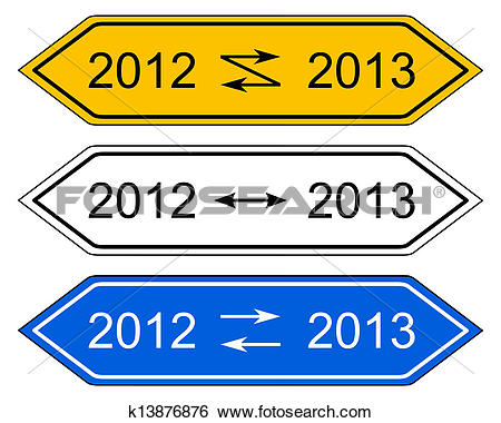 Clip Art of Direction sign turn of the year k13876876.