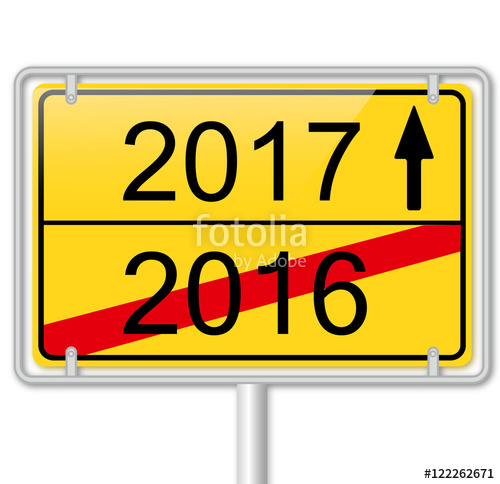 "Road Sign 2017 Turn of the Year"" Stock image and royalty."