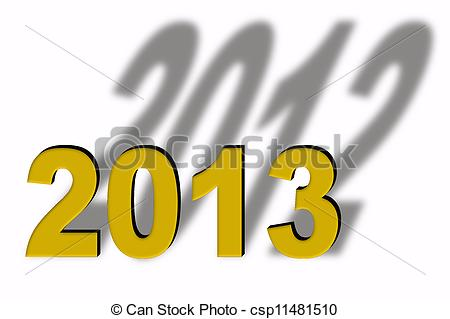 Clipart of Turn of the year, golden letters, 2013 with shadow 2012.