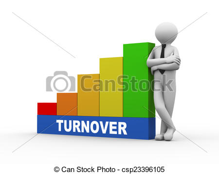 Stock Illustration of 3d man with turnover growing business bars.