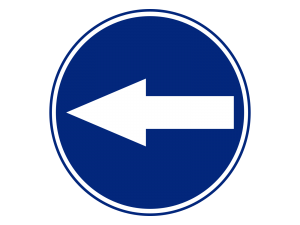 Blue Turn Left Sign PNG Transparent Background « Free To Use.