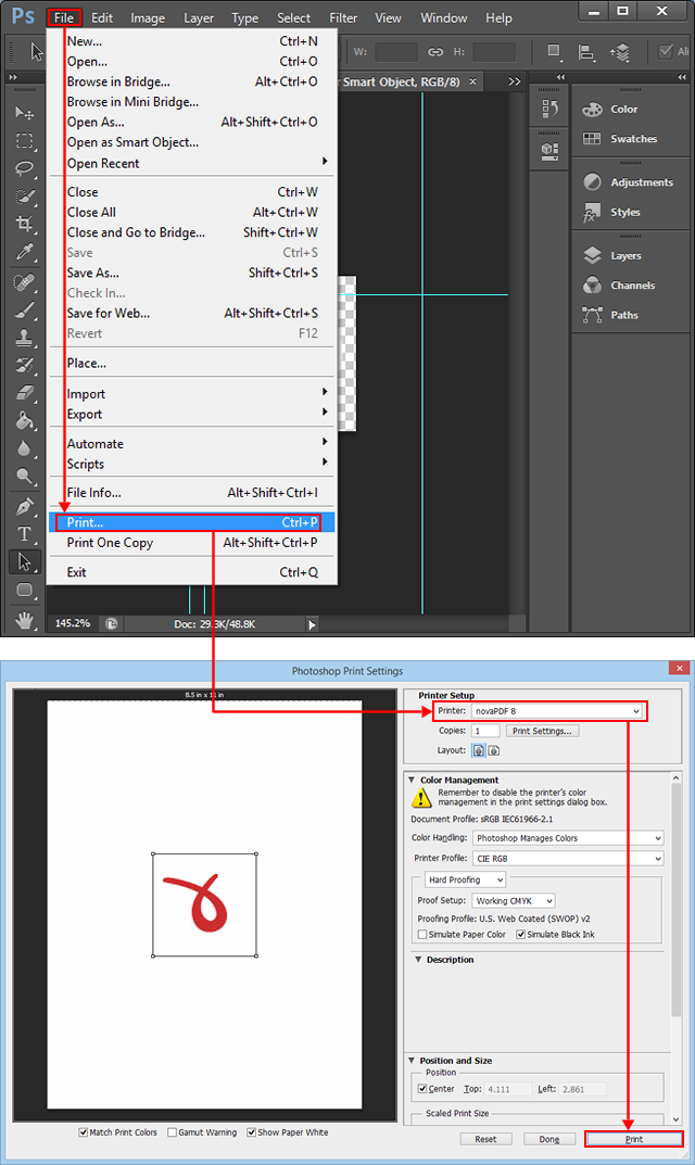 Convert PSD files created with Adobe Photoshop to PDF.