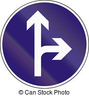 Road sign used in hungary turn right ahead Illustrations and Stock.