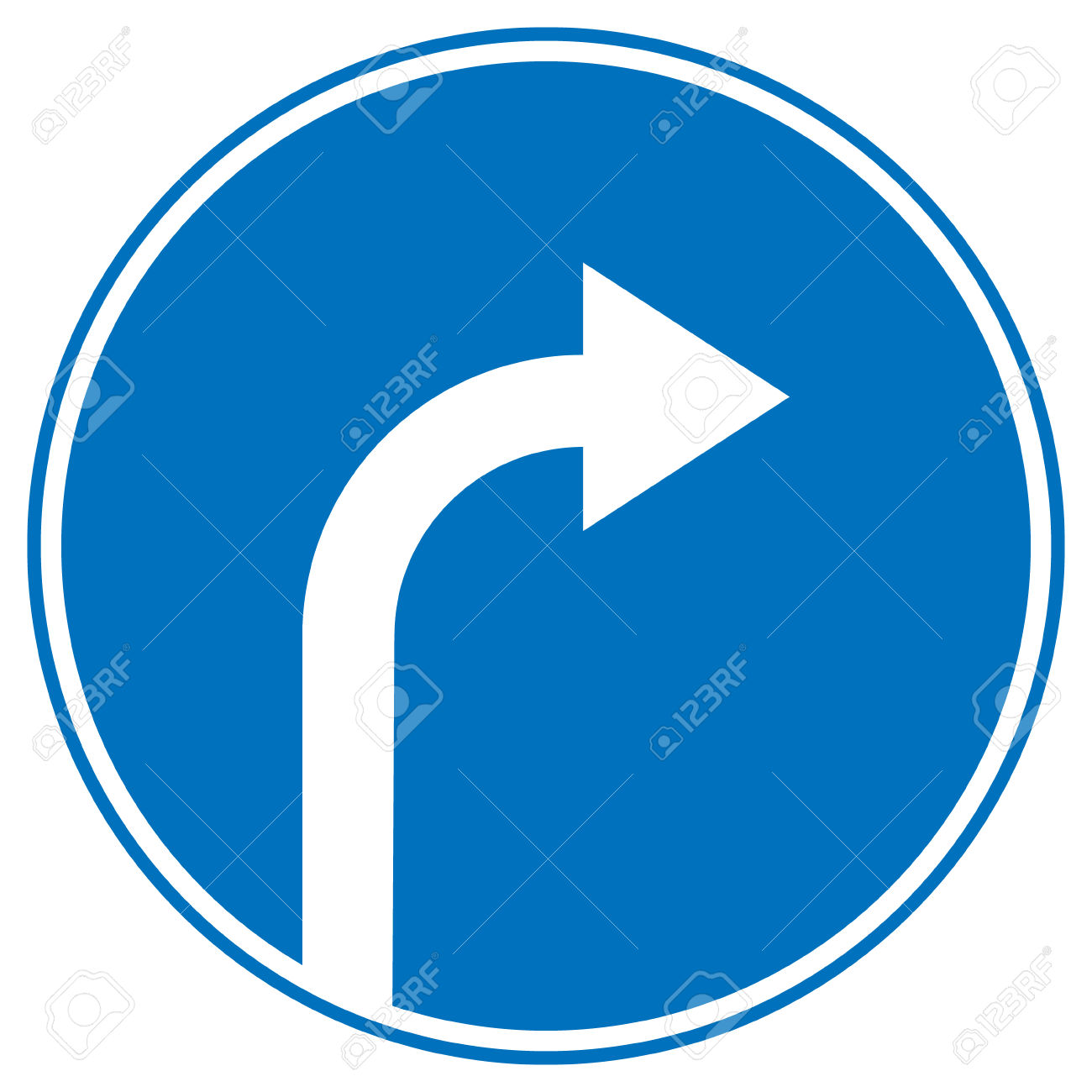 Turn Right Ahead Sign, Blue Round Isolated Roadside Traffic Sign.