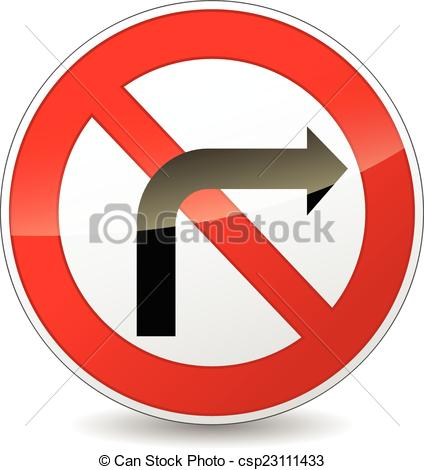 Vectors of no right turn sign.