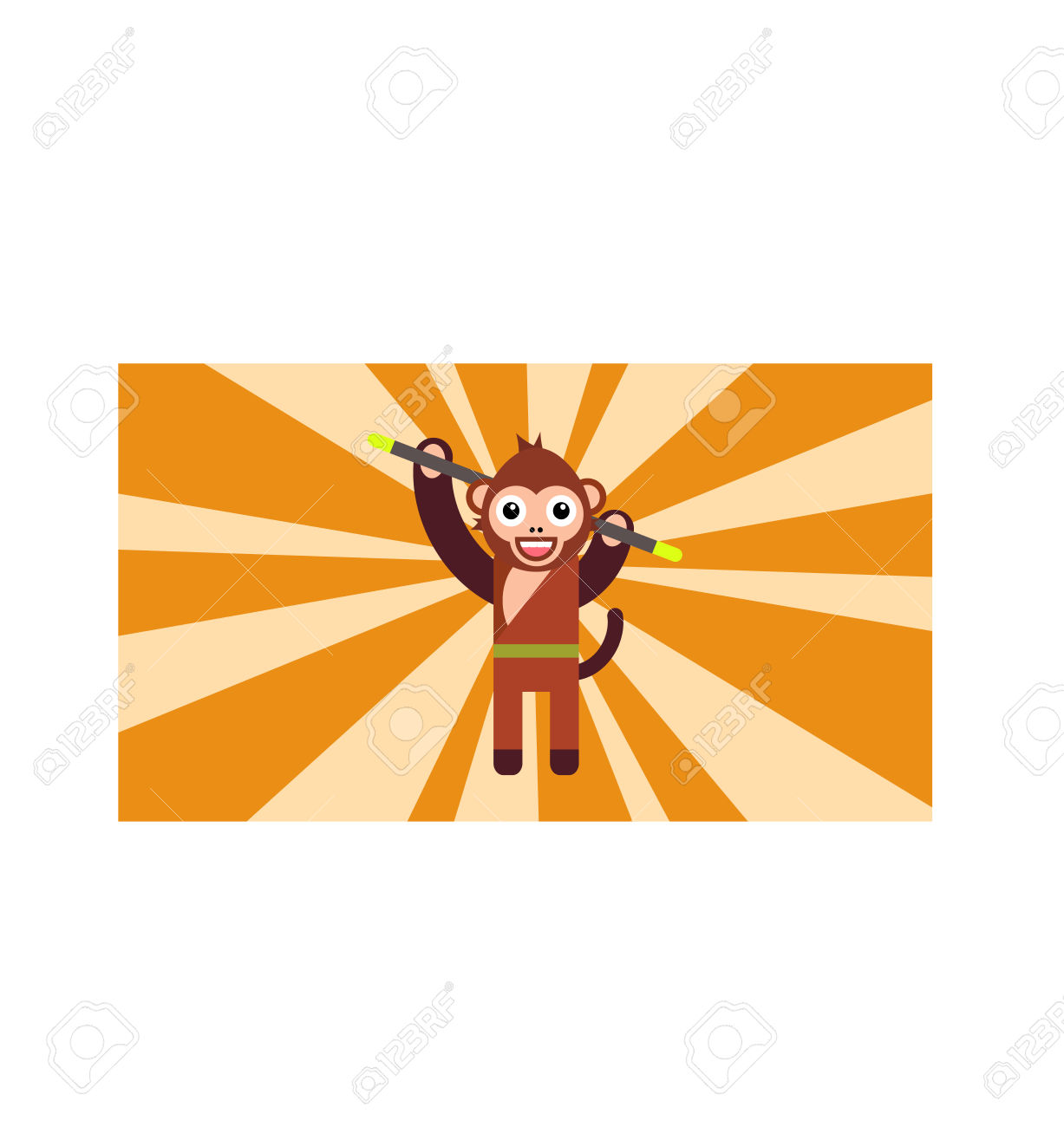 The Year Of Monkey, Monkey Turn, Monkey Holding Magic Stick.