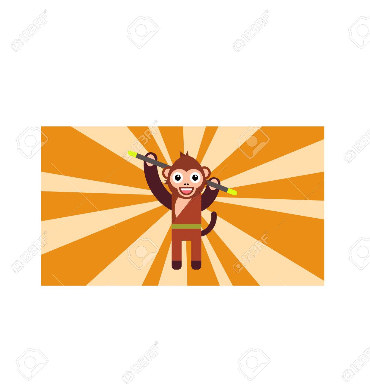 The Year Of Monkey, Monkey Turn, Monkey Holding Magic Stick.