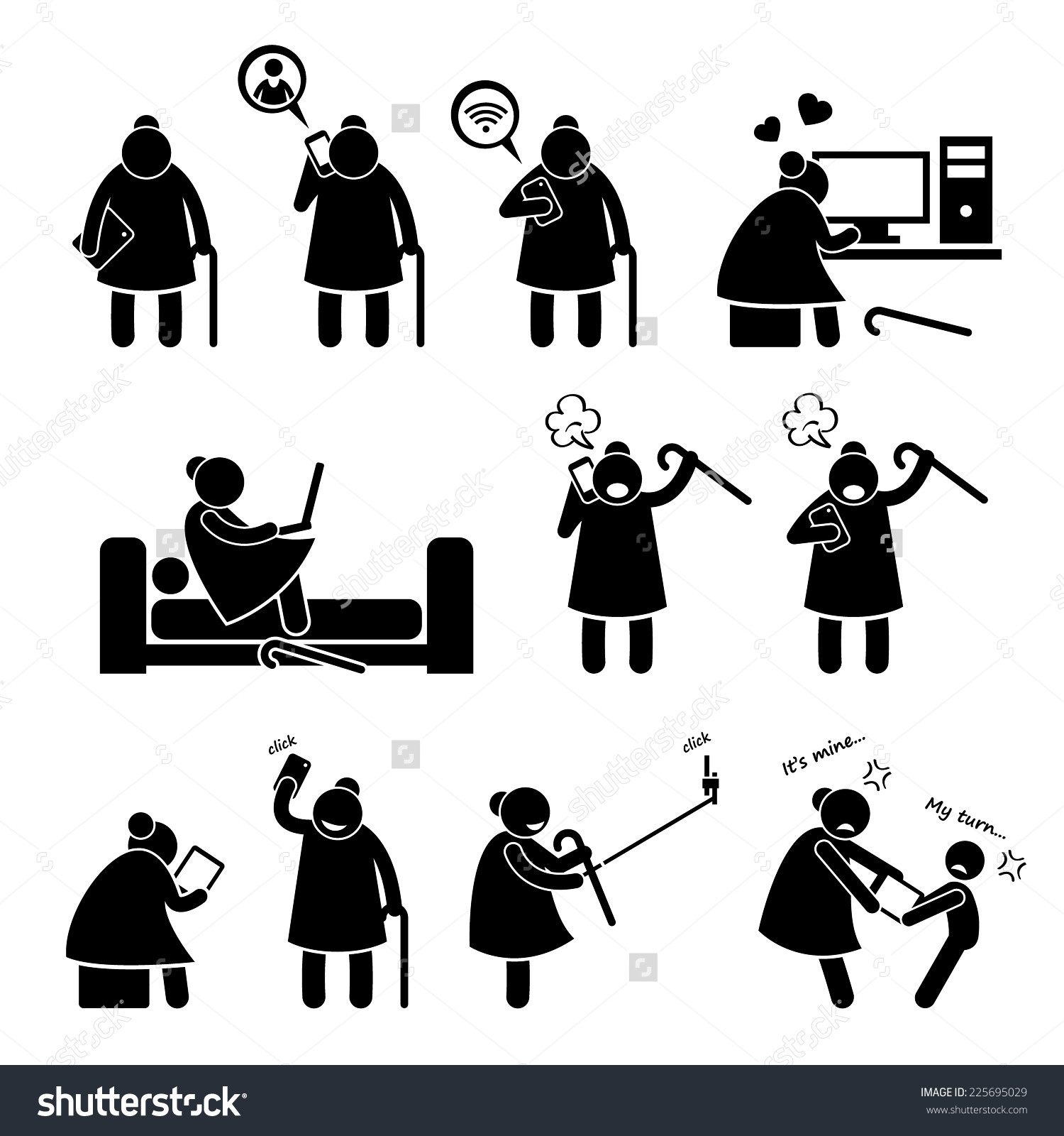 Funny Stick Figures And Computer Clipart.