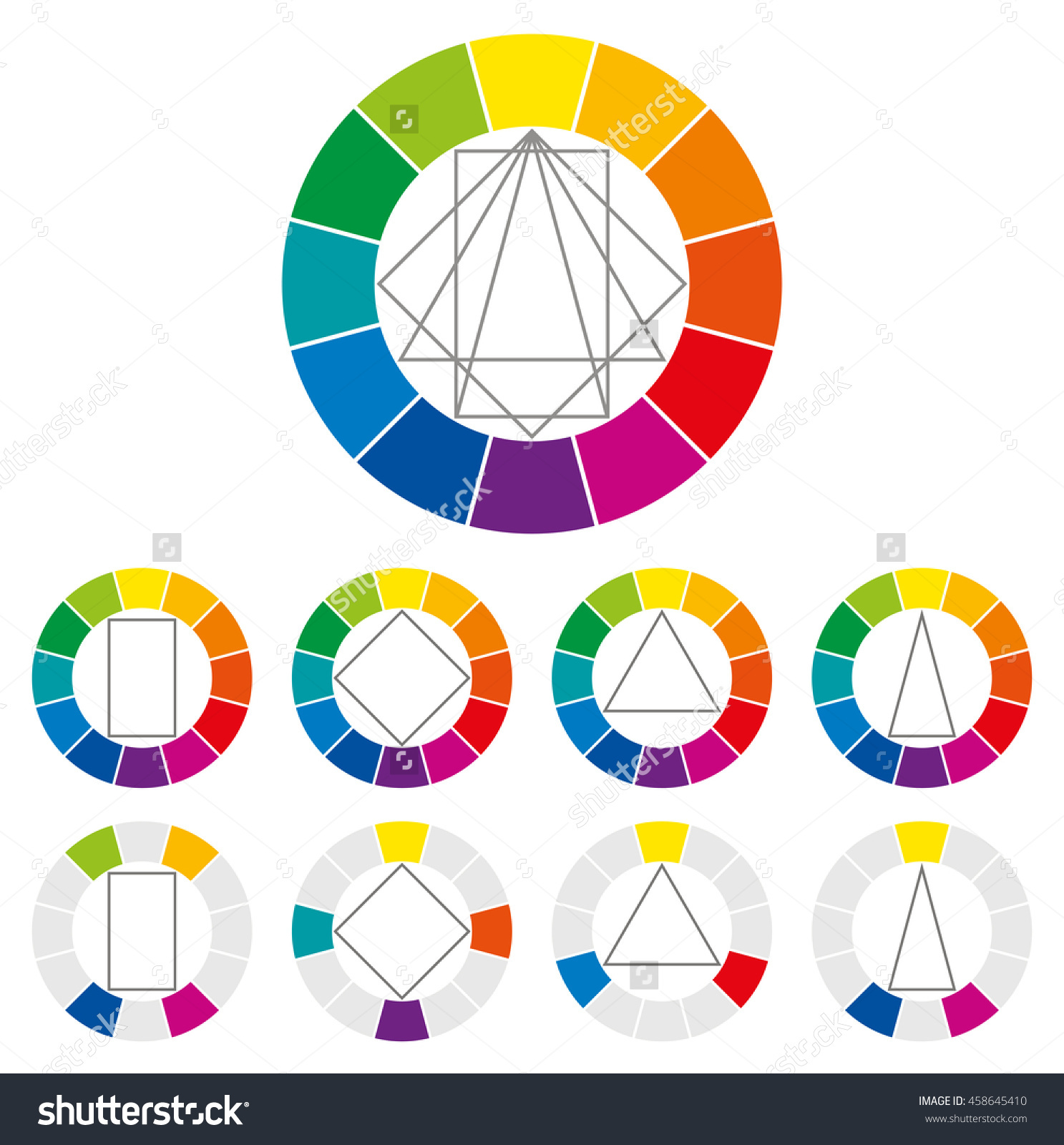 Color Wheel Four Different Geometric Forms Stock Vector 458645410.