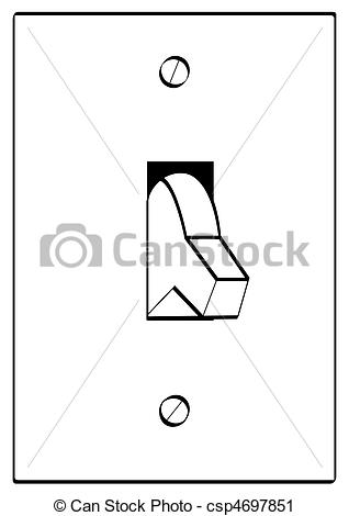 Clipart of outline of light switch turned to off position.
