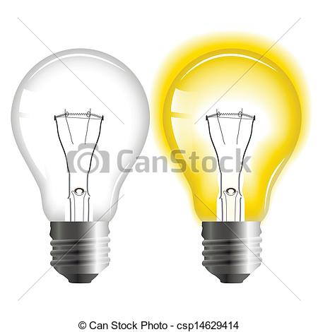 Vector Clip Art of Glowing and turned off light bulb csp14629414.