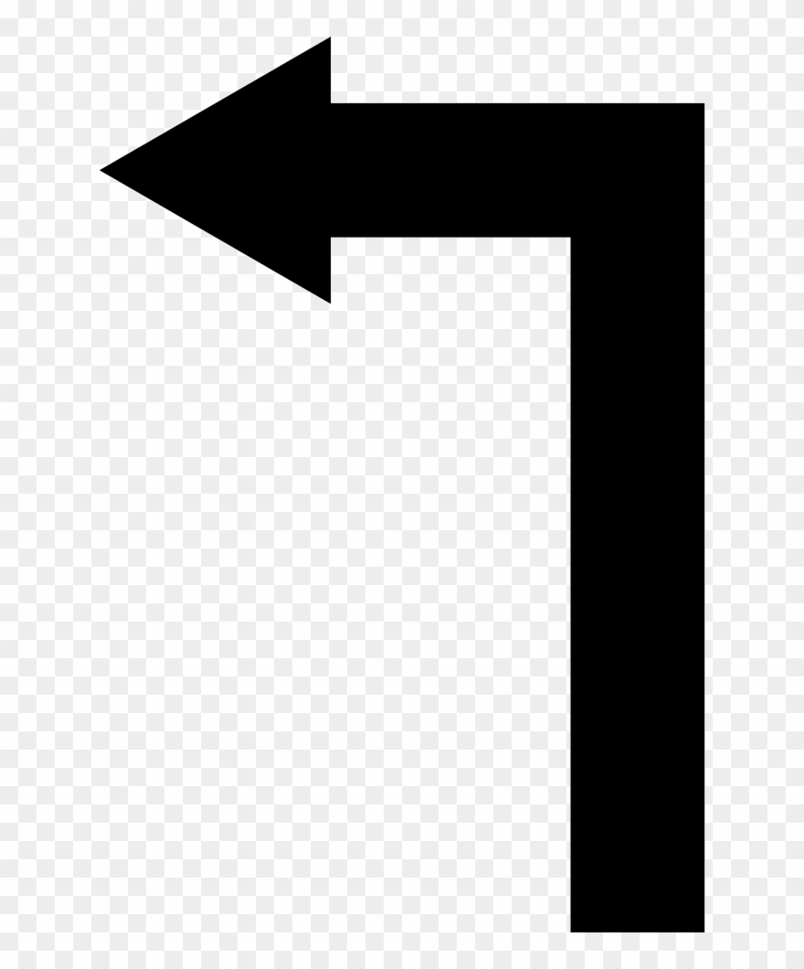 Arrow Straight Angle Turning To Left Comments Clipart.