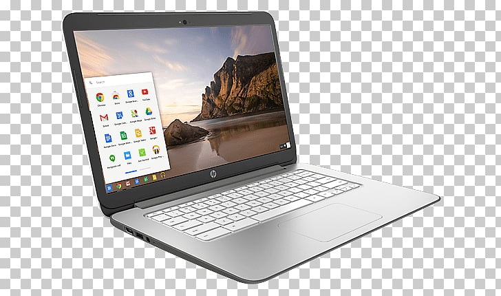 HP Chromebook, turned.
