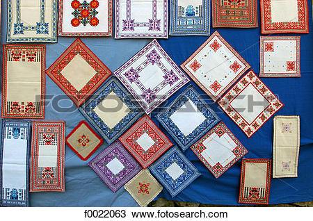 Stock Photo of Bulgaria, Veliko Tarnovo, embroidery f0022063.