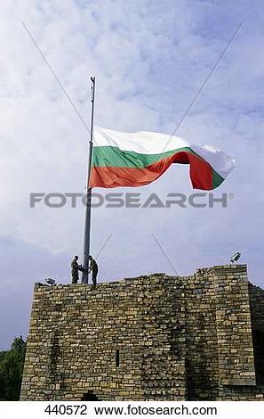 Stock Photo of Bulgarian flag on top of fort, Veliko Turnovo.