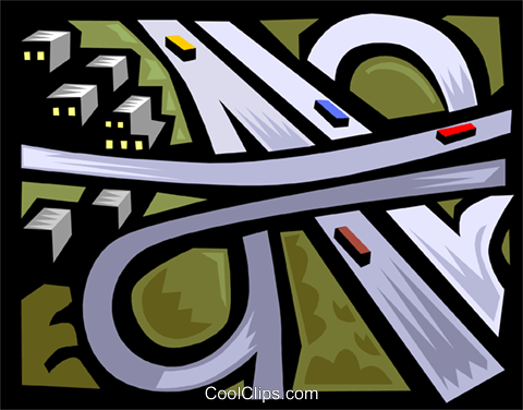 traffic, highway turnpike Royalty Free Vector Clip Art.