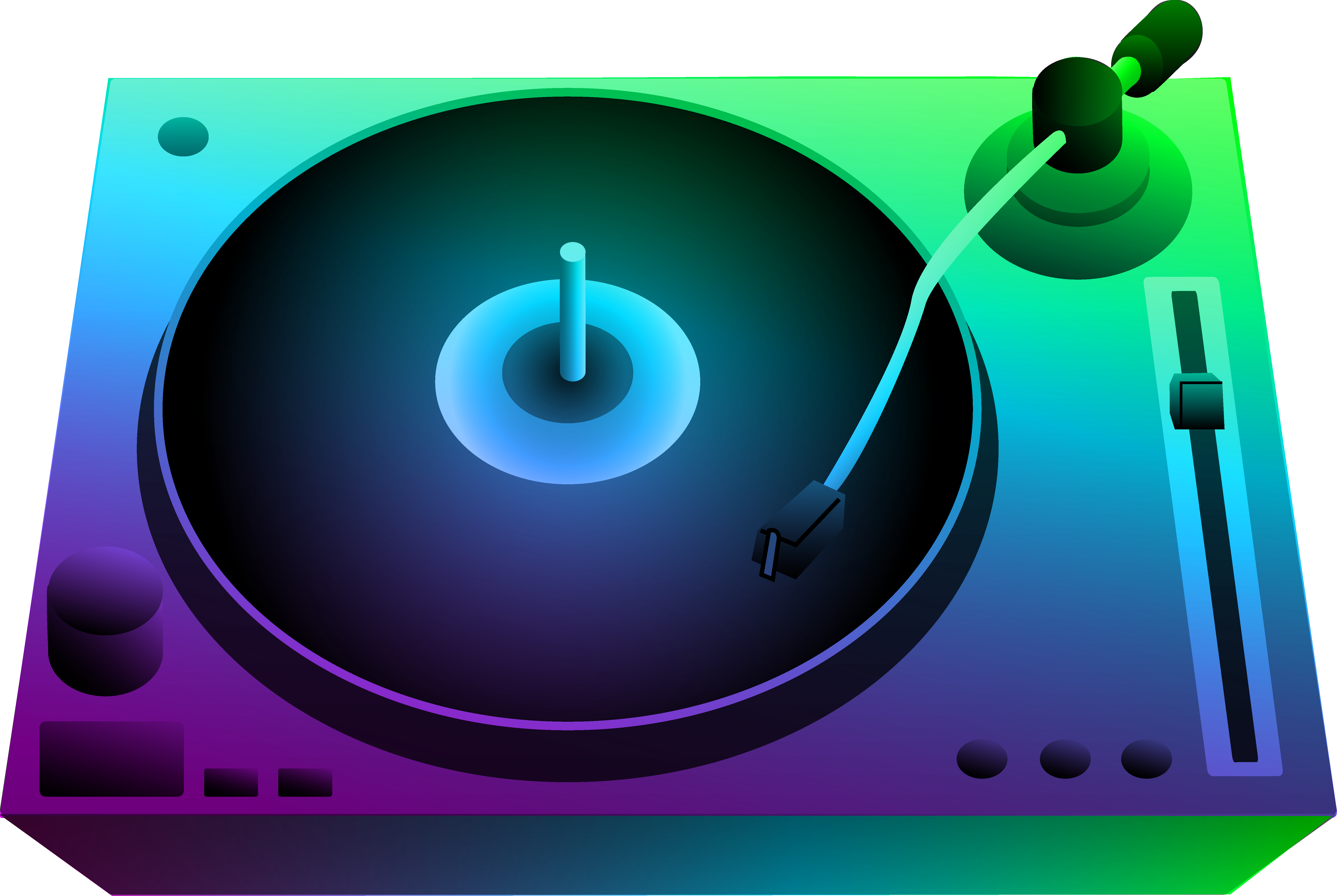 DJ Turntable Under Neon Lights.