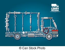 Clipart Vector of Fire truck icon with mechanical details.