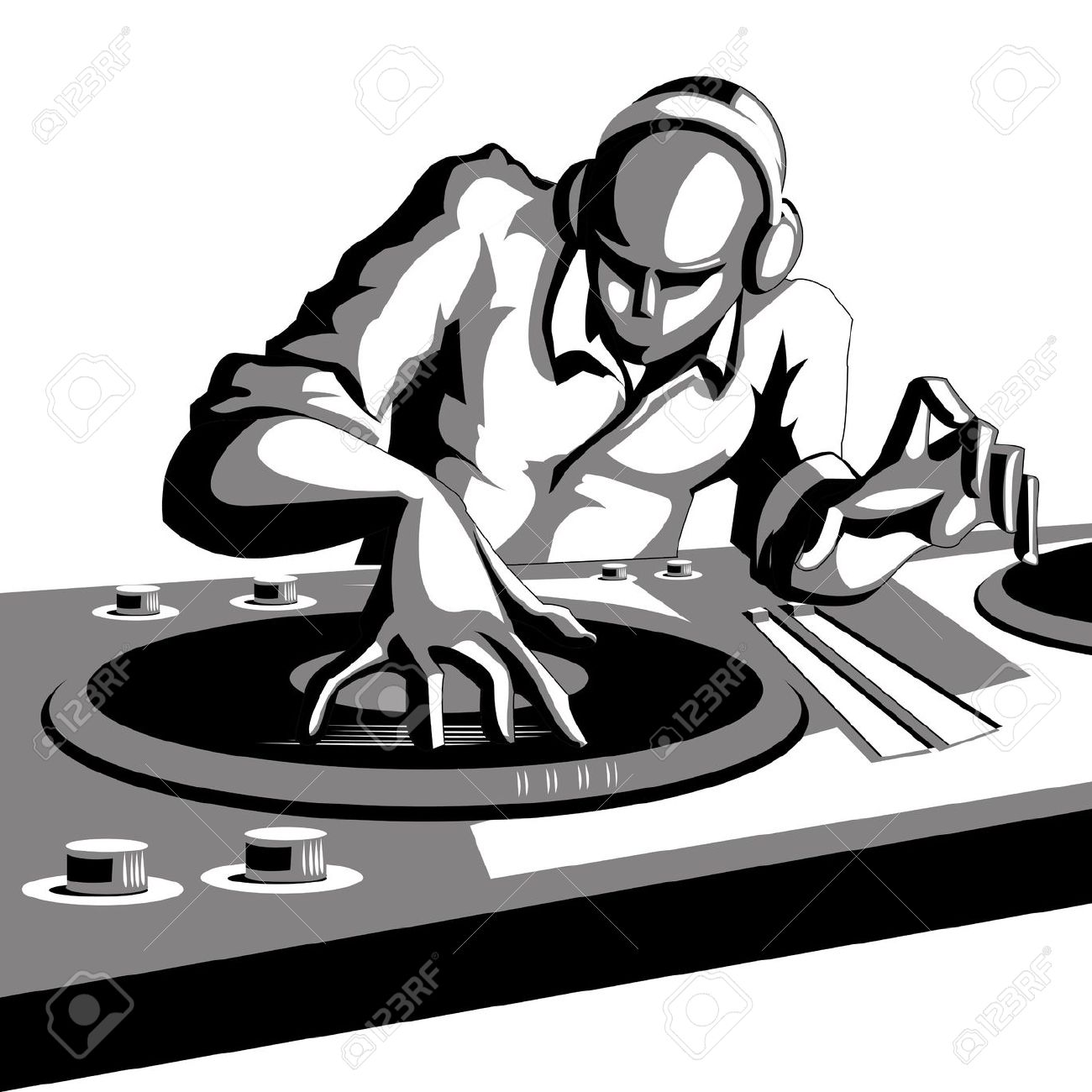 Dj mixer turntable clipart.