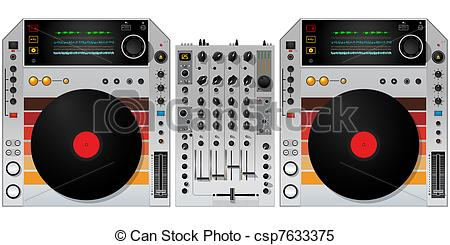 Stock Illustrations of DJ turntables and mixer.